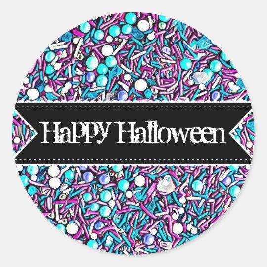 Pegatina Redonda El caramelo del feliz Halloween asperja a los
