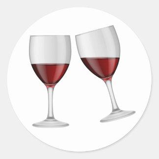 Pegatina Redonda El casarse de los vidrios de Champán del vino rojo