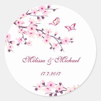 Pegatina Redonda El casarse floral de las flores de cerezo