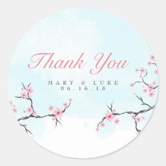 Pegatina Redonda El casarse le agradece las flores de cerezo de la