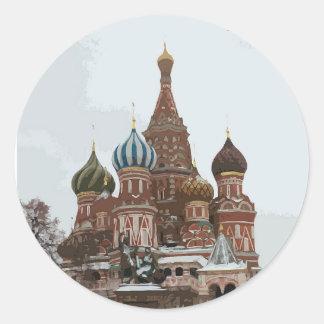Pegatina Redonda El cathedral_russo de la albahaca del santo