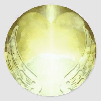 Pegatina Redonda El corazón del oro con ángel se va volando la
