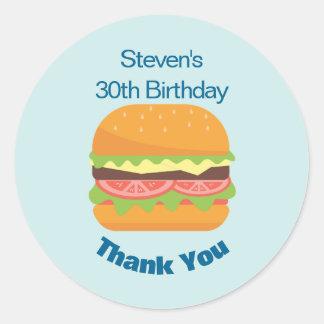 Pegatina Redonda El cumpleaños del ejemplo de la hamburguesa le