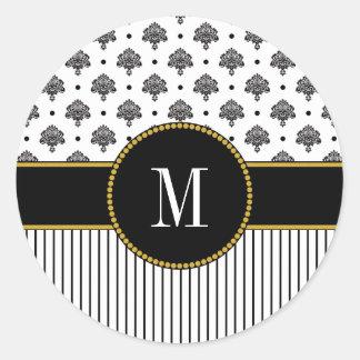 Pegatina Redonda El damasco blanco negro raya el monograma fresco