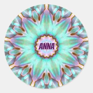 Pegatina Redonda El ~ de ANA personalizó el ~ del fractal del