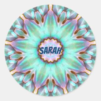 Pegatina Redonda El ~ de Sarah personalizó el ~ del fractal del