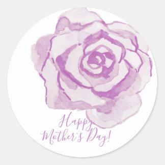 Pegatina Redonda ¡El día de madre feliz! acuarela púrpura del  