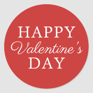 Pegatina Redonda El día de San Valentín blanco rojo minimalista