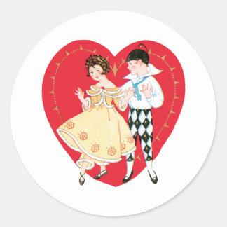 Pegatina Redonda El día de San Valentín, chica, Harlequin y corazón