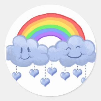 Pegatina Redonda El día de San Valentín del amor de la nube