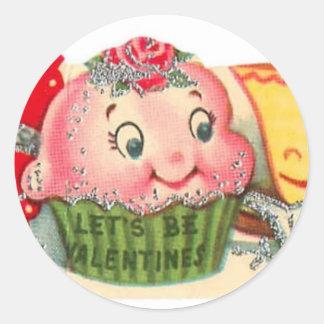Pegatina Redonda El día de San Valentín retro de la magdalena y de