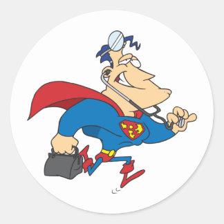 Pegatina Redonda El doctor Stickers del super héroe