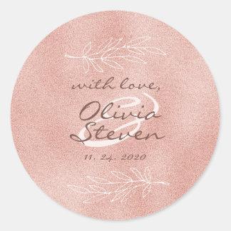 Pegatina Redonda El encanto se ruboriza boda color de rosa de la