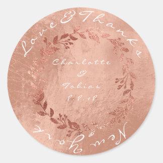 Pegatina Redonda El falso boda rosado agradece el oro de cobre