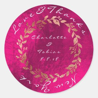 Pegatina Redonda El falso boda rosado agradece rosa de cobre