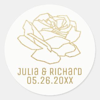 Pegatina Redonda el falso oro subió la flor con los nombres,