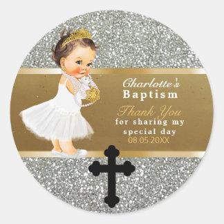Pegatina Redonda El favor el | del bautismo de la niña le agradece