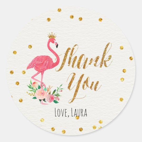 Brillante Flamingo Personalizado Gracias Pegatinas Bolsa Fiesta Cumpleaños Cariño Cono