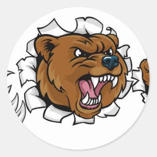 Pegatina Redonda El fondo enojado de la mascota del oso agarra