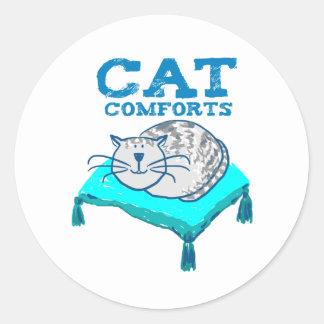 Pegatina Redonda El gato conforta el ilustracion del gato en un