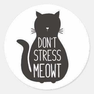 Pegatina Redonda El gato negro divertido no subraya Meowt
