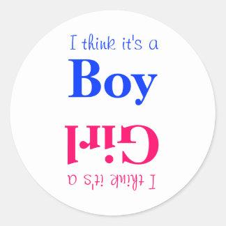 Pegatina Redonda El género del bebé del muchacho o del chica revela