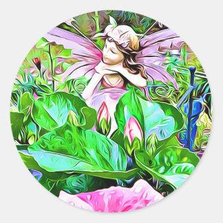 Pegatina Redonda El hibisco de hadas y rosado florece a los