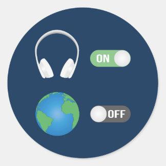 Pegatina Redonda El interruptor de la música