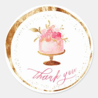 Pegatina Redonda El ★ le agradece Patisserie, panadería, las tortas
