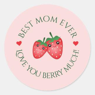 Pegatina Redonda El mejor amor del día de madre de la mamá nunca