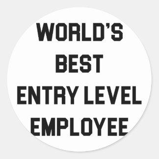 Pegatina Redonda El mejor empleado del nivel de entrada