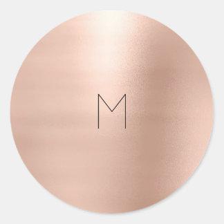 Pegatina Redonda El oro color de rosa rosado se ruboriza monograma