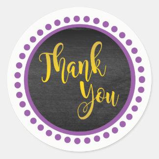 Pegatina Redonda El oro púrpura le agradece