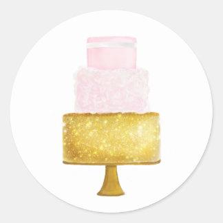 Pegatina Redonda El oro se ruboriza ducha nupcial del pastel de
