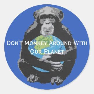 Pegatina Redonda El personalizado no monkey alrededor con nuestro