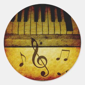 Pegatina Redonda El piano cierra el vintage
