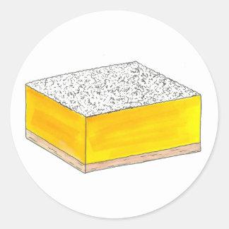 Pegatina Redonda El postre de los pasteles de la barra cuadrada del