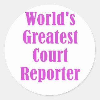 Pegatina Redonda El reportero de corte más grande de los mundos