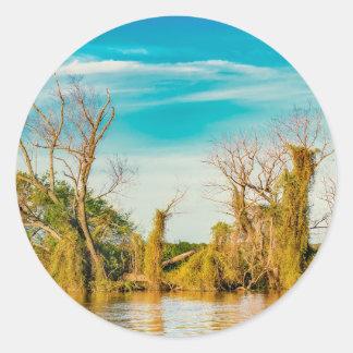 Pegatina Redonda El río Paraná, San Nicolas, la Argentina