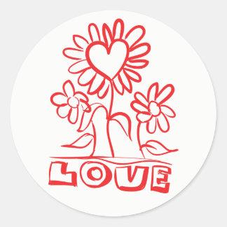 Pegatina Redonda El rojo agradece le florece y el boda del amor de