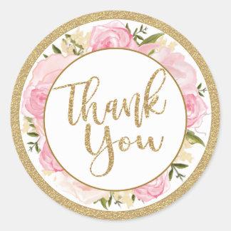 Pegatina Redonda El rosa y el boda de la flor del oro le agradecen