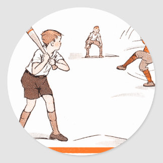 Pegatina Redonda El vintage embroma el juego de béisbol de los