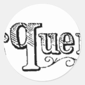 Pegatina Redonda El vintage observa y pregunta Typograph
