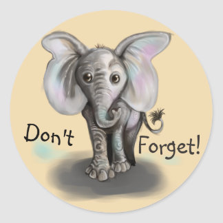 Pegatina Redonda Elefante del bebé