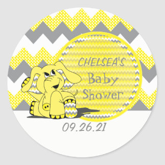Pegatina Redonda Elefante tonto amarillo divertido de Chevron