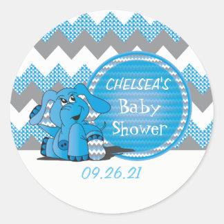 Pegatina Redonda Elefante tonto azul divertido de Chevron