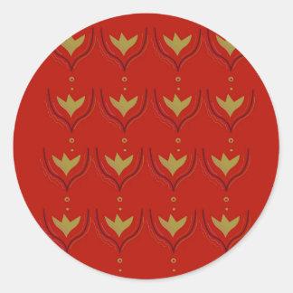 Pegatina Redonda Elementos del diseño del oro en marrón