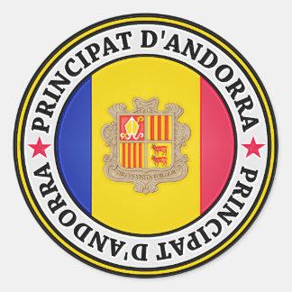 Pegatina Redonda Emblema redondo de Andorra