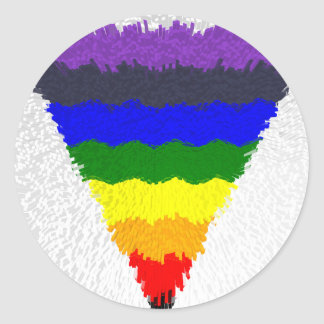 Pegatina Redonda Embudo ondulado del triángulo del arco iris de las