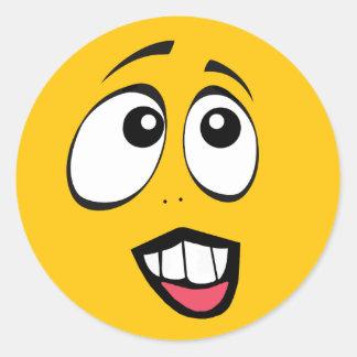 Pegatina Redonda Emoji amarillo en cuestión